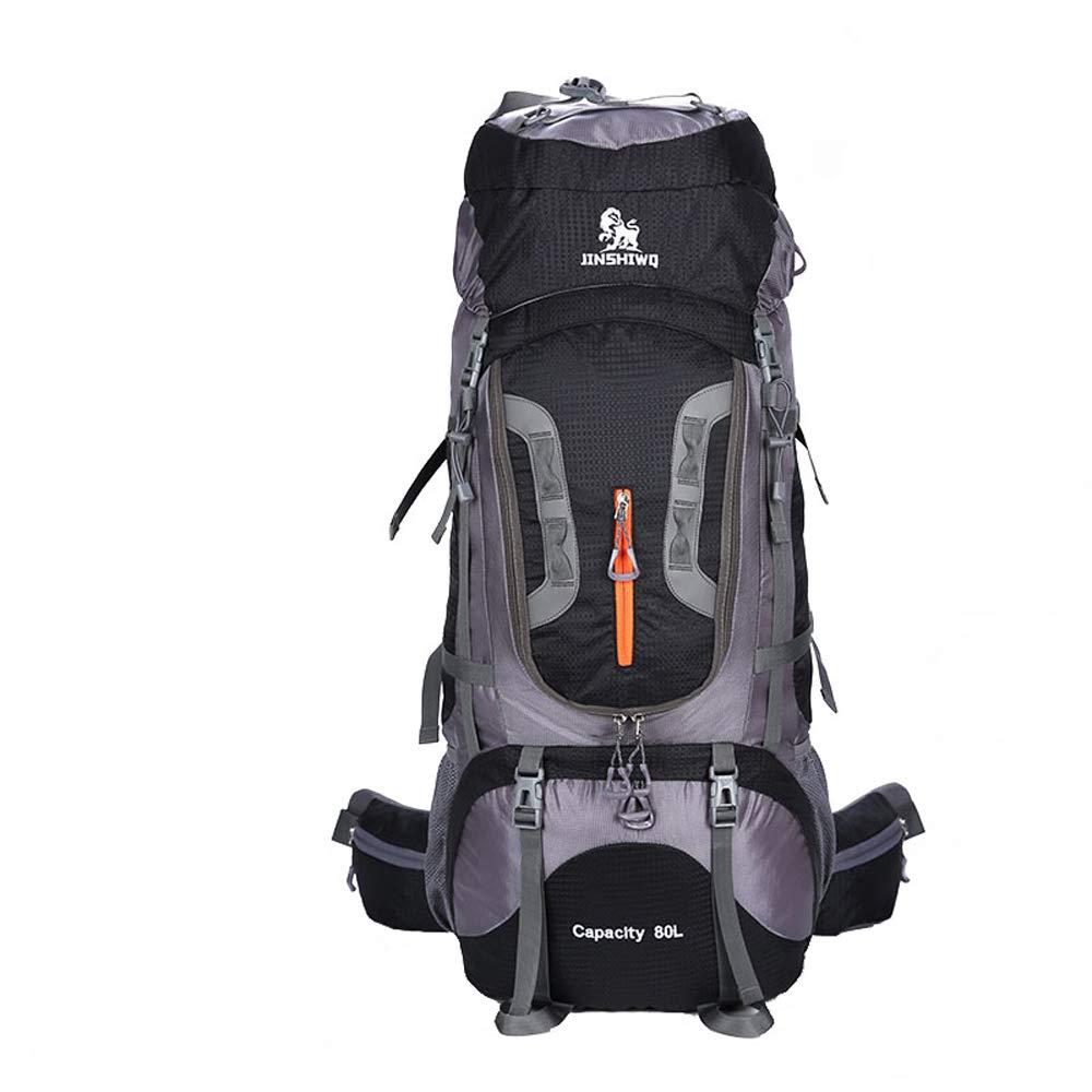 プロフェッショナル屋外登山バックパック防水トラベルバッグ登山大容量キャンバスバックパック80L B07MDW1FTR 黒 33*85*23cm