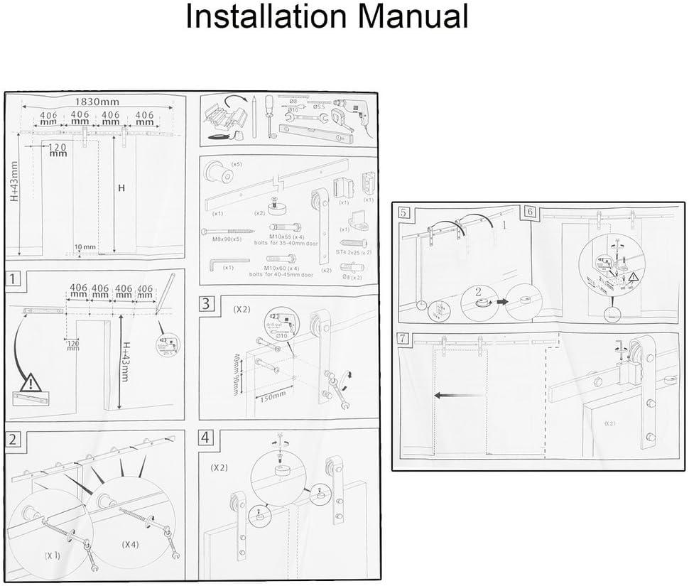 sweepid – Herraje para puerta deslizante Sistema Carril de madera puerta corredera plano Sistema de Rieles puerta corrediza Puerta, Negro: Amazon.es: Bricolaje y herramientas