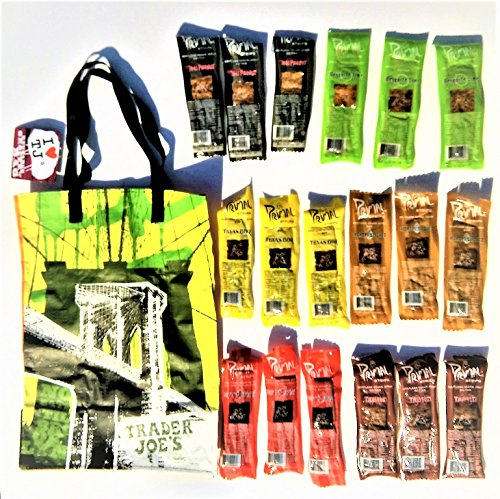 Primal Strips Meatless Vegan Jerky 6 Flavor Variety Gift Pack Sampler 18 Assorted 1 Ounce Strips and NY Style Trader Joe's Grocery Lunch Bag