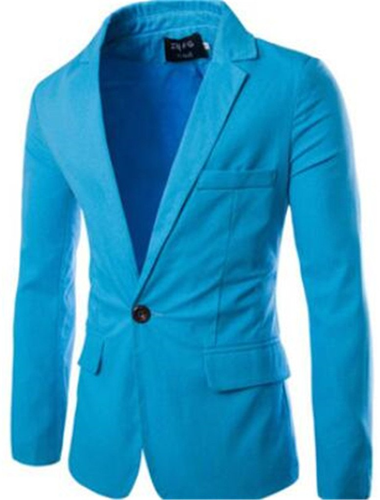 Cafuny Men's Casual Slim Solid Color One Button Business Suit Blazer Coat