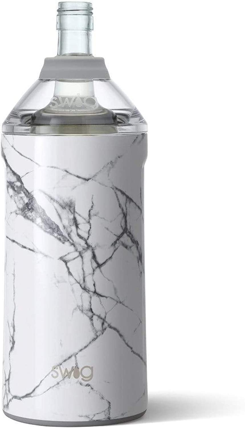 Swig Life Triple Insulated Wine Bottle Cooler, Dishwasher Safe, Double Walled, Stainless Steel Portable Champagne and Wine Chiller in our Marble Slab Pattern (Multiple Patterns Available)
