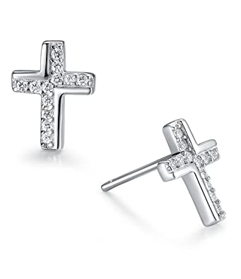 Sterling Silver Cross Stud Earrings - SIZE: Small 7mm x 5mm x .8mm - small & discreet. Gift boxed cross earrings. 5083 r59dq