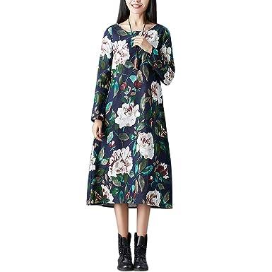 POTO Dresses Plus Size,Women Long Sleeve Floral Maxi Dress,Cotton and Linen Ladies