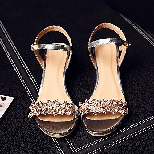 Estate Diamanti Aprire Le Dita dei Piedi con Sandali Ladies Ladies Dating Sandali,US8/EU39/UK6/CN39,888 - Argento