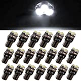 YITAMOTOR 20x T5 3-SMD Instrument Panel Cluster Dash White LED Bulb Light Lamp 74 70 37 17