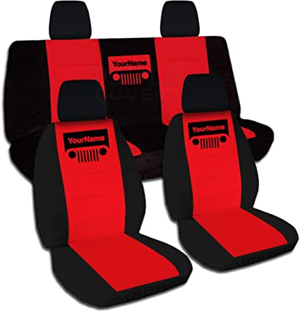 Fabulous Totally Covers Fits 2011 2018 Jeep Wrangler Jk Two Tone Grill Seat Covers W Your Name Text Black Red Full Set Front Rear 2012 2013 2014 2015 Machost Co Dining Chair Design Ideas Machostcouk