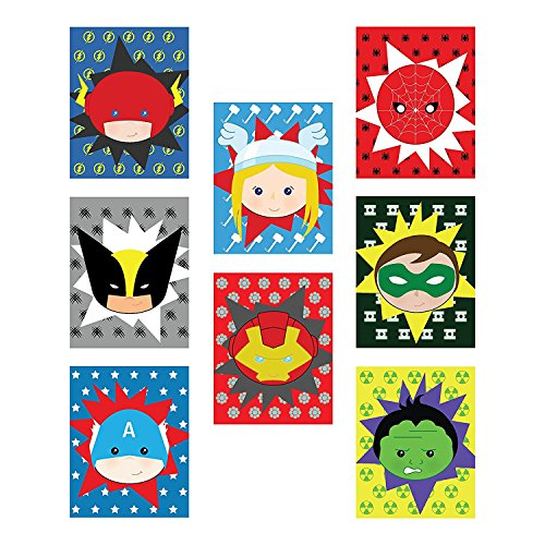 Kid's Playroom Decor, Superheros Eight 08x10 Inch Print Set For Kids, Baby Boy Nursery Decor, Superman, Batman, Spiderman, Captain America, Superhero Wall Art, Marvel Wall Art