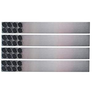Lockways Magnetic Whiteboard Strip Set 4 Pieces 2 x 15 Inch Bulletin Board bar, Silver Stainless, Adhesive Backing Memo Board for Office, Magnetic Calendar, Photos, Name Cards & Papers