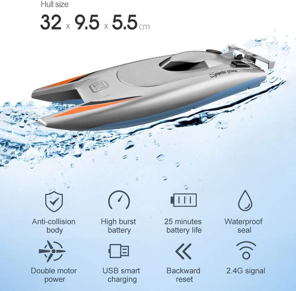 Stecto RC ferngesteuertes Boot 2.4G 30KM H Extrem schnelles Mini-Schnellboot 7,4 V 650 mAH Trockenbatterie Doppelmotor RC-Boot mit starker Abdichtung Kindergeschenk
