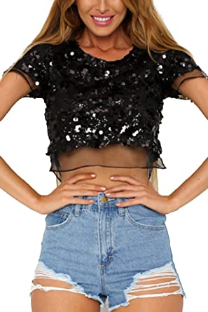 Camisa Blusa sin Mangas de Patchwork Transparente y Malla de Sequince Negra para Mujeres: Amazon.es: Ropa y accesorios