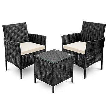 BOJU - Juego de 3 sillas y Mesa de Mimbre para jardín ...
