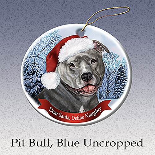 Holiday Pet Gifts Blue Pit Bull (Uncropped) Santa Hat Dog Porcelain Ornament