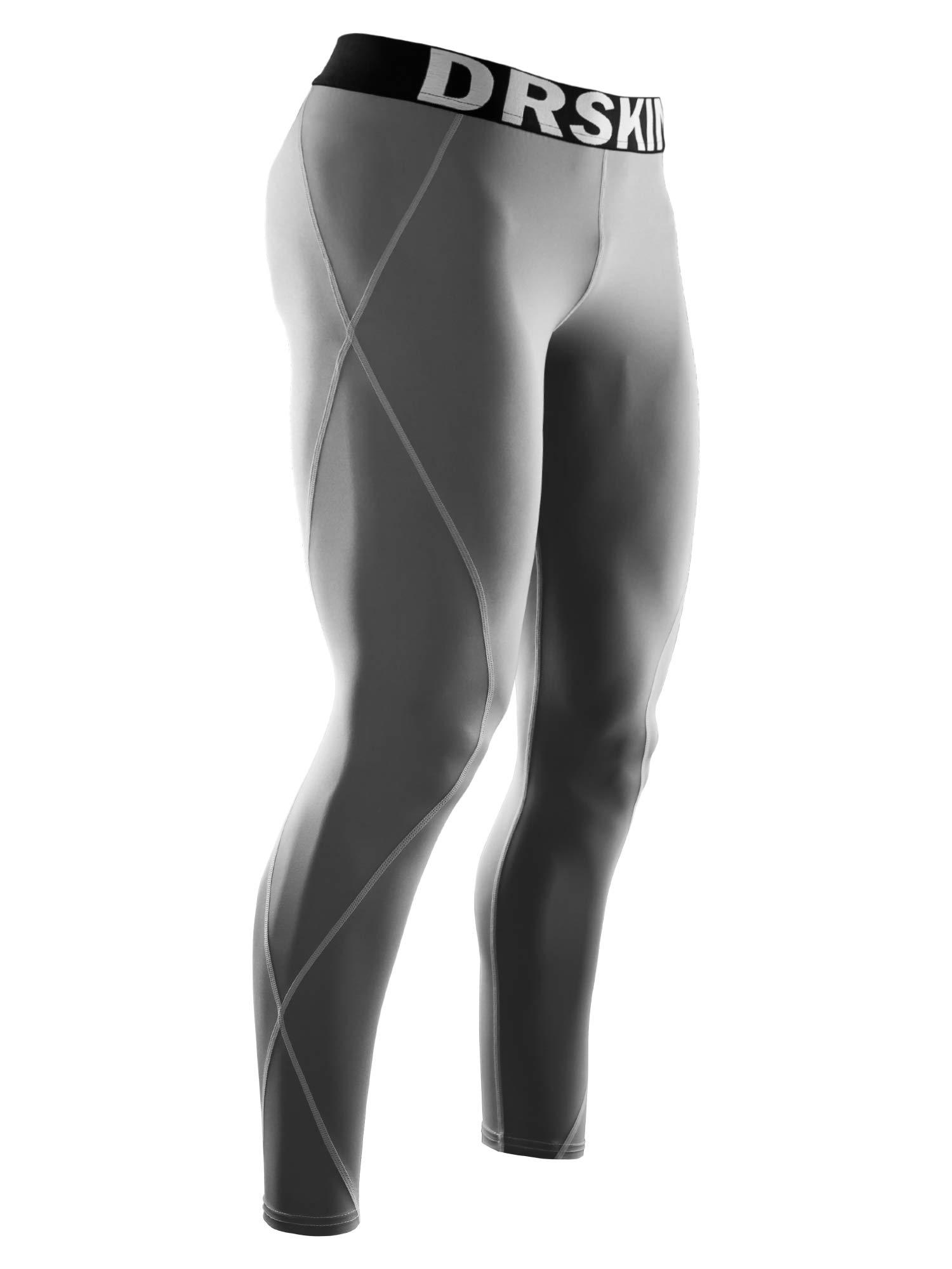 DRSKIN Compression Cool Dry Sports Tights Pants Baselayer Running Leggings Yoga Rashguard Men (3XL, DG03) by DRSKIN