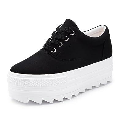 55ffea2e7c67 PP FASHION Women s Wedges Canvas Shoes Lace Up Fashion Platform Sneakers  (5
