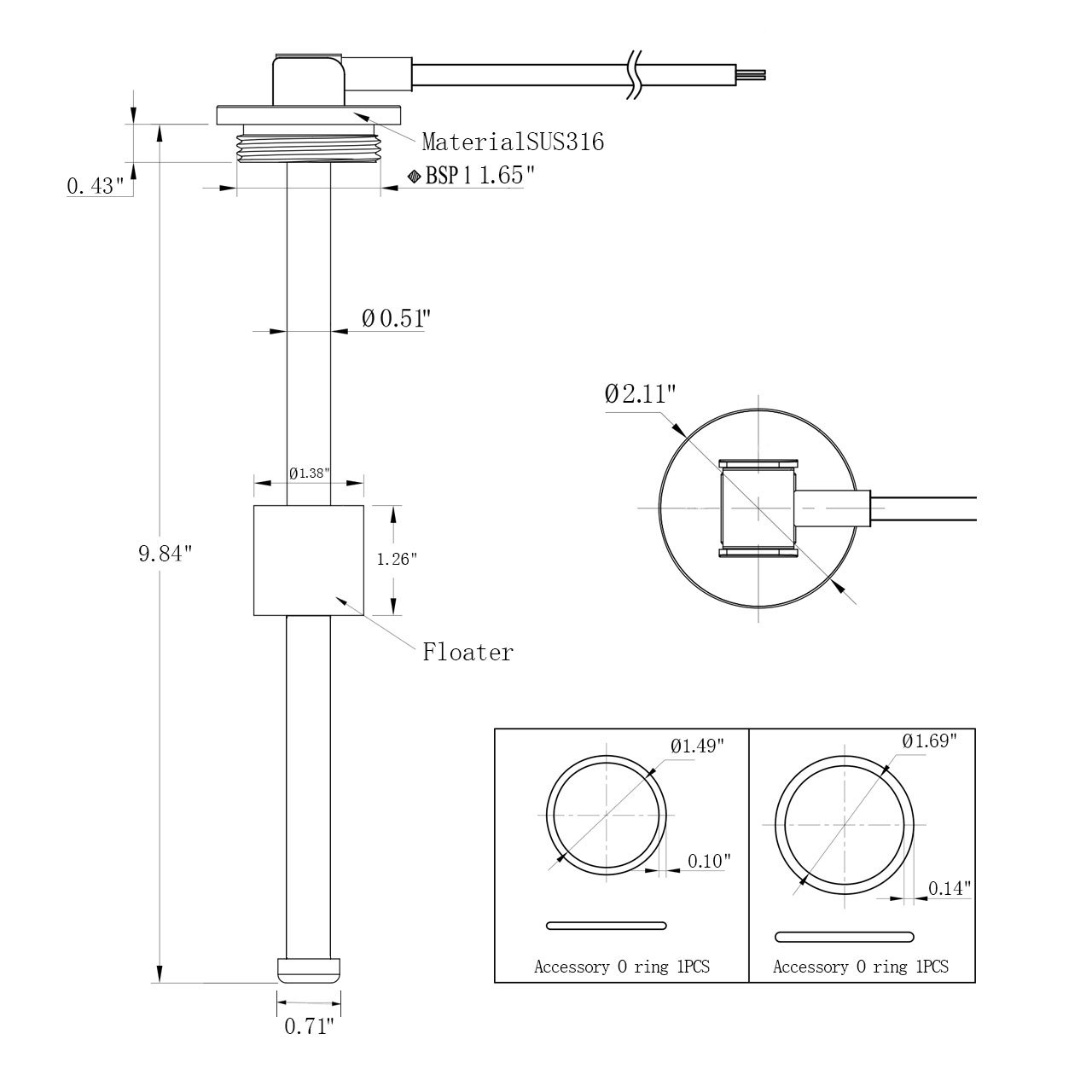 33 240 Ohm 95 Fuel And Water Tank Level Sensor 98 250 Mm Genuine Vdo Gas Gauge Wiring Diagram Marine Sports Outdoors