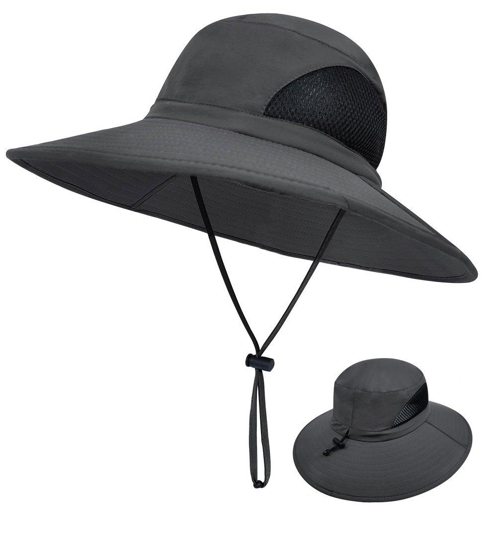 LETHMIK Outdoor Waterproof Fishing Hat,Summer UV Protection Breathable Boonie Hat Hunting Safari Sun Hat Dark Grey