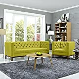 Modway Panache Upholstered Modern Tufted Sofa and Armchair Set In Wheatgrass Review