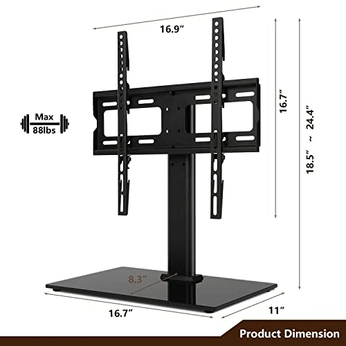 TAVR Universal Swivel Tabletop TV Base Stand with Height Adjustable Mount for 27 32 37 42 47 55 inch LCD LED Flat Screen TV Tempered Glass Base Wire Management,Weight 88Lbs,VESA 400x400mm UT1002X