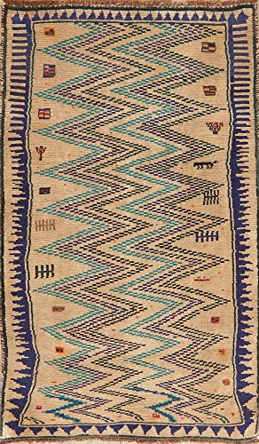Vintage Geometric Zig/Zag Brown Gabbeh Persian Area Rug Hand-Knotted Wool Carpet 4' X 6' (6' 3'' X 3' 10'')