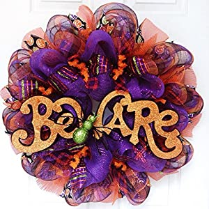 Halloween Beware Wreath with Large Spider Handmade Deco Mesh 9