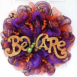 Halloween Beware Wreath with Large Spider Handmade Deco Mesh 19