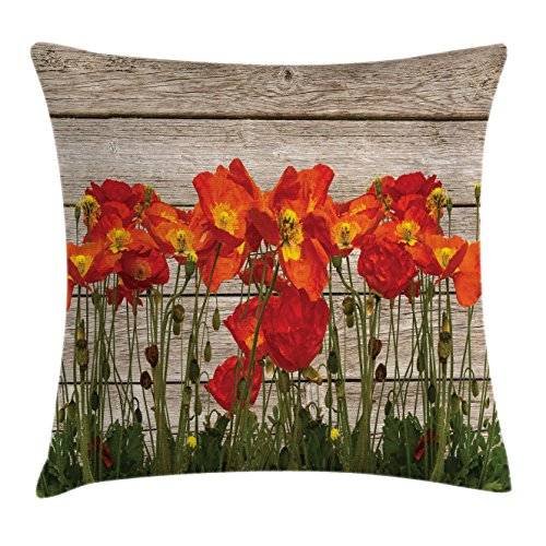 Ambesonne Rustic Home Decor Throw Pillow Cushion Cover, Close Line of Poppy Petals Field Meadow Summer Sun Plant Floral Theme, Decorative Square Accent Pillow Case, 24 X 24 Inches, Orange Brown