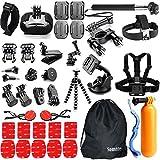 Accessories Kit Bundle for Gopro Hero 5/4/3/2 Session Silver Black Apeman 4K Campark Pictek; SJCAM SJ4000 SJ5000; Underwater Wifi Action Camera (42 Items)