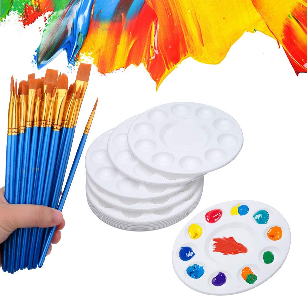 50 Pcs Paint Brushes with 12 Pcs Paint Pallet Trays for Kids and Adults to Create Art Paint by Hulameda