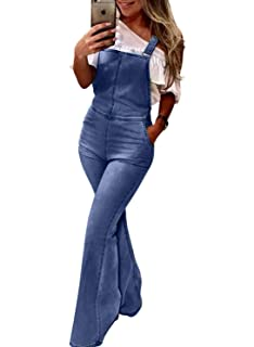 fe9cf5a1ca24 Acelitt Women s Casual Flared Bell Bottom Overalls Skinny Denim Long Jumpsuit  with Pockets