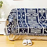 Throws for sofa,2,3 seater,Double sided polyester anti-slip dust-proof cover sofa slipcovers bay window cushion decoration furniture protector for home-Navy blue 230x280cm(91x110inch)