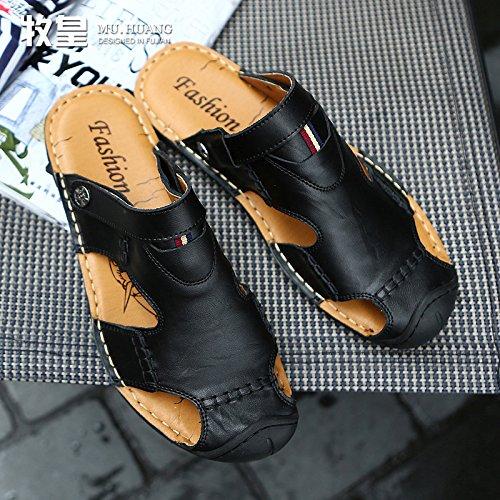 Xing Lin Sandalias De Cuero Los Nuevos Hombres De La Cool Verano Zapatillas Sandalias De Playa Marea Masculina Zapatos, Calzado Casual Zapatos Agujero Agujero ,40, Negro