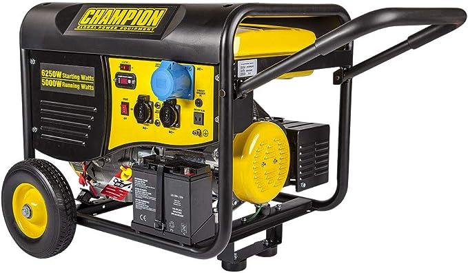 Generador eléctrico Champion CPG6500EU   5.500 W - 10 Horas   Arranque eléctrico y Mando a Distancia