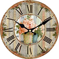 MEISTAR Silent No Ticking Round Quartz Movement Wall Clocks 12 Inch Decorative Vintage/Country/French Style Wooden Clock for Living Room,Kitchen,Office.