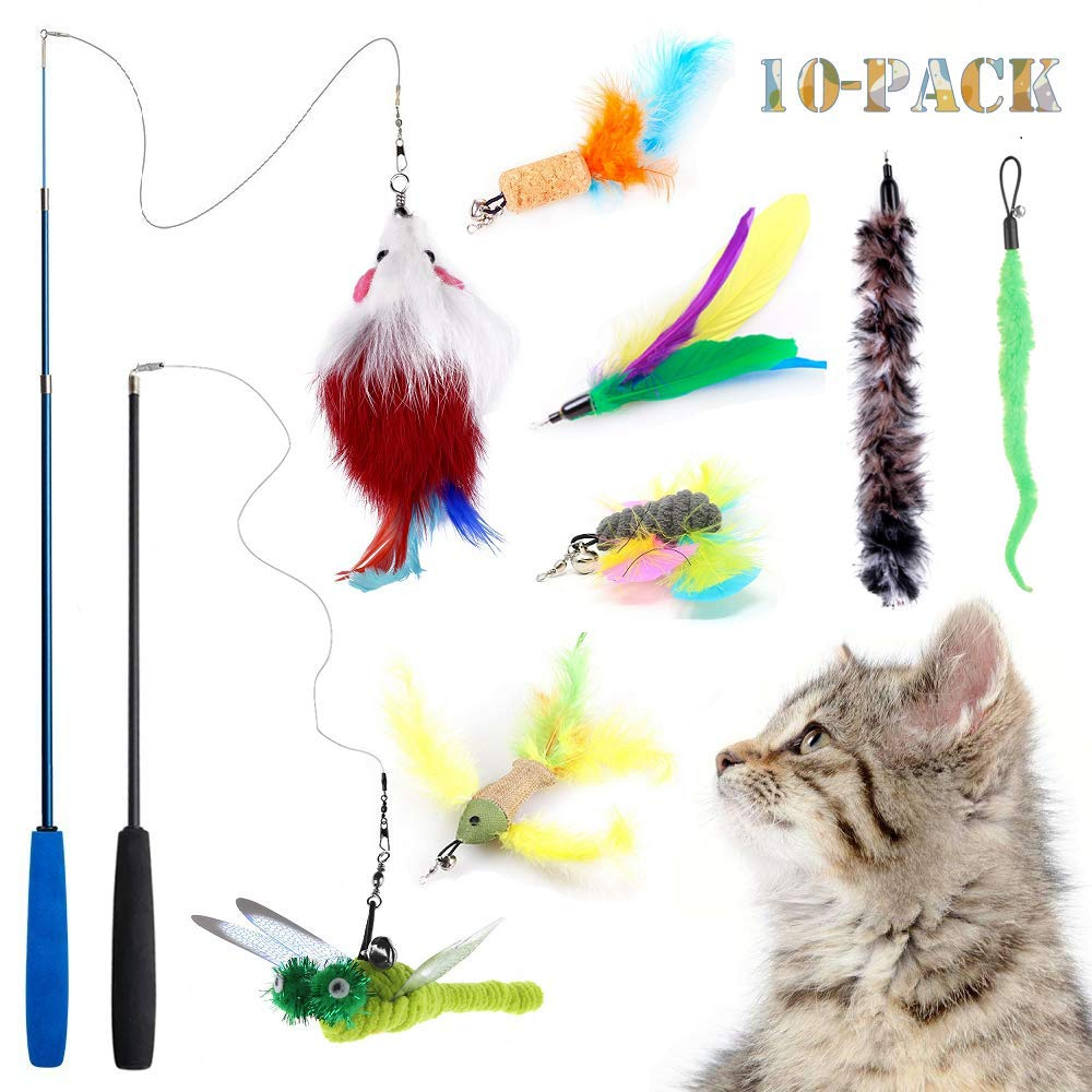 Teeyee [10 in 1] Cat Feather Toys, Cat Retractable Teaser Wand Toy Set, Interactive Cat Chaser Toy for ExercisingKitten or Cat, Included 2 Wands & 8Refills Feathers (10 in 1)