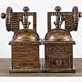 LPY-Set of 2 Bookends Resin Coffee Machine Style Handicrafts, Book Ends for Office or Study Room Home Shelf Decorative