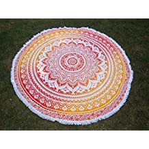 Bhagyoday Fashions- Indian Round Tapestry Mandala ,Circle Beach Tapestry Towel Wall Hanging, Hippie Boho Gypsy Cotton Tablecloth Beach Towel, Tassel Round Yoga Mat, Picnic Blanket Decor 70""