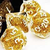 Haxtec Gold Glitter Dice Polyhedral DND Dice for Dungeons and Dragons Roleplaying Games-Gold Glitter Dice