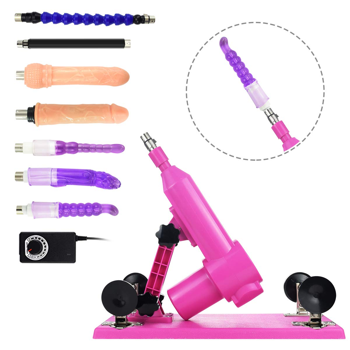 Auto Retractable Massage Tool Adult Machine Gun with 7 Attachments with Strong Power Motor