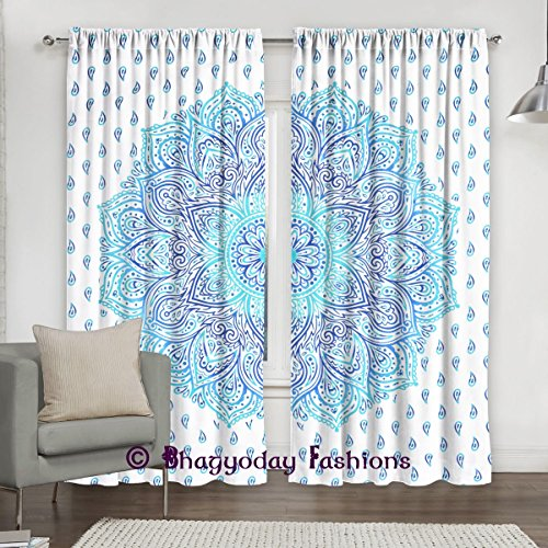 Exclusive- Indian Urban Ombre Mandala Curtains Tapestry Drapes Window Treatment & Panels Set Bohemian By Shree Jinvaram