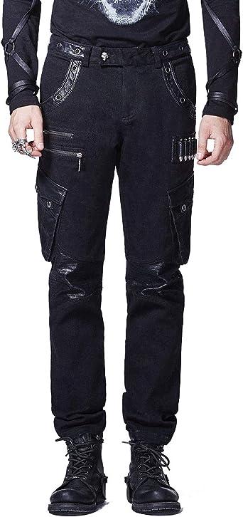 Punk Rave - Pantalones de algodón para Hombre (Piel), Color Negro