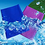 [2Pack]Cooling Towel, Cool Towel for Instant Cooling Relief, Ice Cold Scarf For Men Women, Chilly Towel, Stay Cool for Travel,Sports, Fitness, Gym, Yoga, Golf, Pilates, Camping & More Dark Blue+Purple