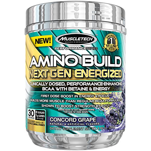 MuscleTech Amino Build Next Gen Energy Supplement, Formulated with BCAA Amino Acids, Betaine, Vitamin B12 & B6 for Muscle Strength & Endurance, Concord Grape, 30 Servings (282g)