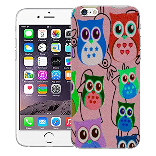 """Mobile Case Mate iPhone 6 Plus 5.5"""" Silicone Coque couverture case cover Pare-chocs + STYLET - Multi Owl Pink pattern (SILICON)"""