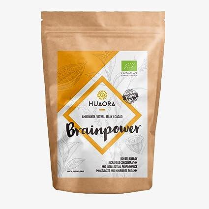 Huaora - Brainpower, Amaranto, Polen de Abeja, Cacao, Superalimentos Orgánicos 150 gr | Sin Gluten, Sin Soja, Sin Lactosa | 100% Orgánico y Natural; ...