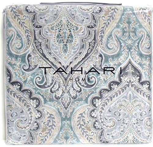 Tahari Home Luxury Bohemian Duvet Cover Luxury Boho Style Medallion Print in Blue Grey 3 Piece Bedding Set (King, Spa)