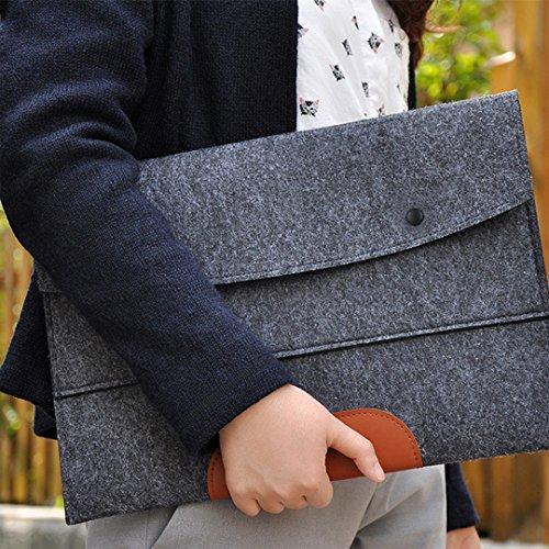 12880a291f40 10.6 Inch Leather Folder Felt Document Organizer Folder Bag File ...