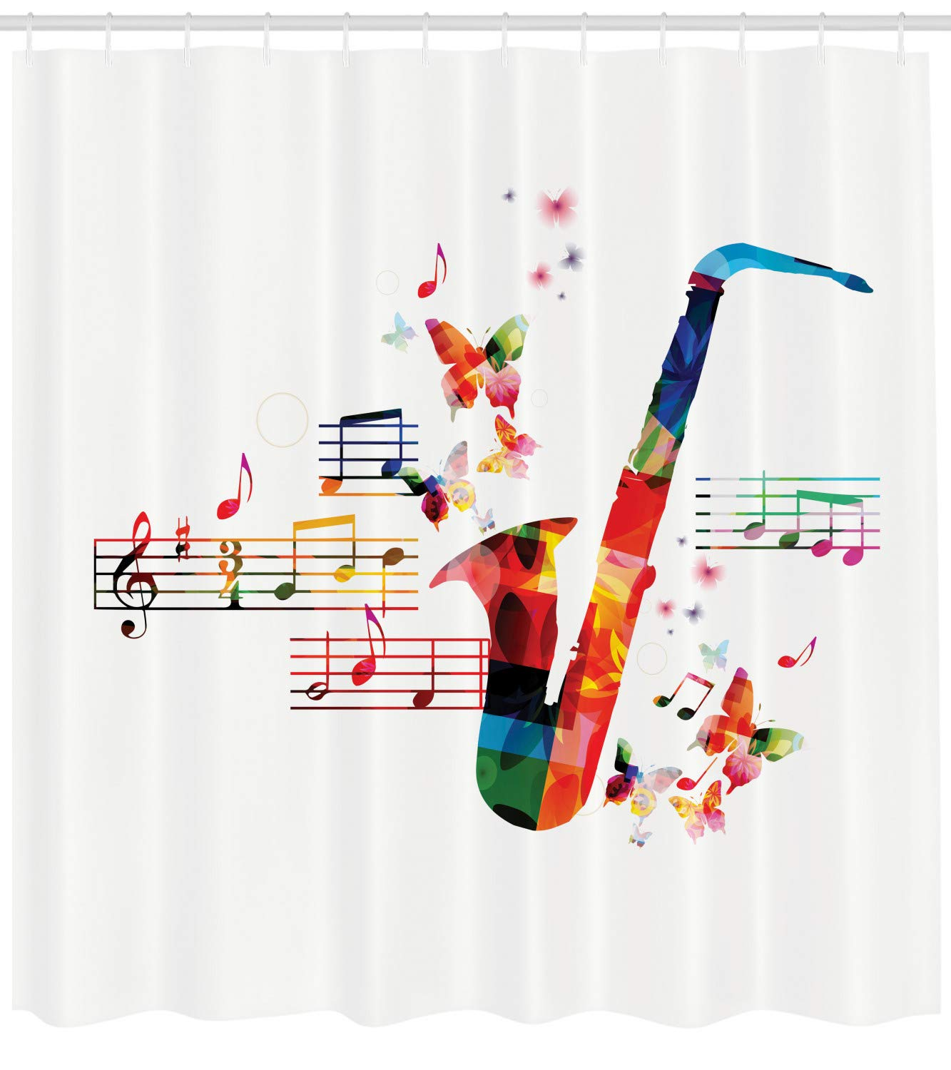 """Ambesonne Music Shower Curtain, Colorful Saxophone Design with Butterflies and Sheet Music Creative Illustration, Cloth Fabric Bathroom Decor Set with Hooks, 84"""" Extra Long, Multicolor"""