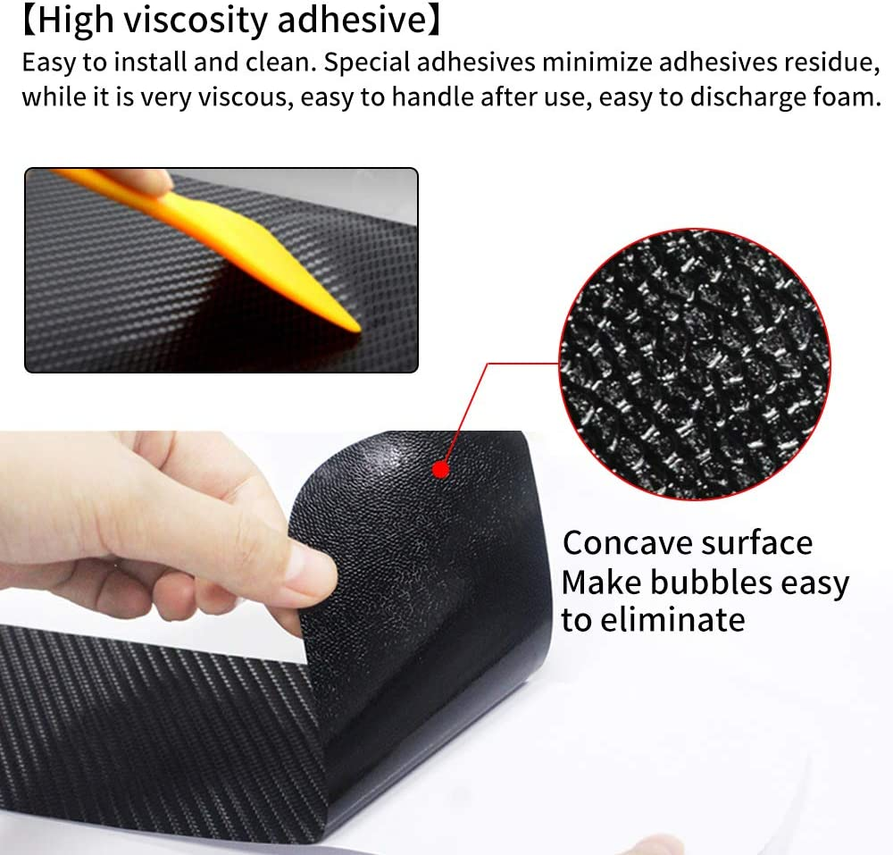 Universal 4D Carbon Fiber Door Sill Guard Protector Trim Covers fits for Car Truck SUV Anti Scratch Kick Plate Sticker with Word Enjoy Life Red 4 Pcs