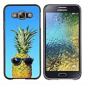 Cool Blue Piña Amigo Weed 420- Metal de aluminio y de plástico duro Caja del teléfono - Negro - Samsung Galaxy E5 / SM-E500