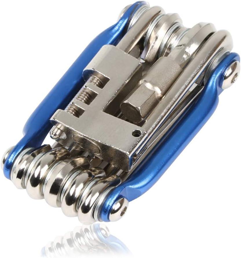 11 En 1 Kit de Herramientas de Mantenimiento INTVN11 En 1 Multiherramienta Bicicleta Mini Kit de Herramientas Plegables Mini Herramienta Plegable(Azul)